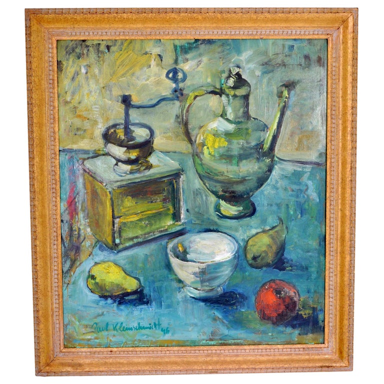 German Expressionist Still Life Oil Painting by Paul Kleinschmidt (Germany 1883-1949), signed & dated 1946. The painting depicting a still life scene in Kleinschmidt's typical impasto style, showing a coffee grinder and ewer with fruit and bowl to