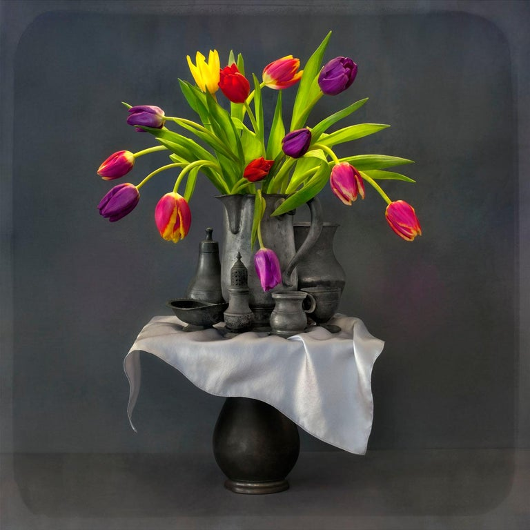 The Tower is the most recent work by Paul Knight and makes art historical reference to Bruegel's Tower of Babel, 17th Century Northern European still life painting and the traditional daguerreotype camera. Yet the hyperreality of the tulips brings