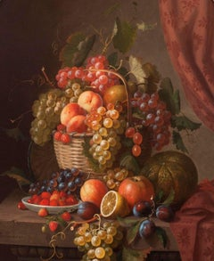 Basket of Fruit, 19th-century Still Life by Paul Lacroix (1806-1884)