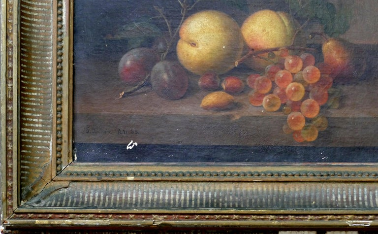 Paul LaCroix Fruit Still-Life Oil Painting on Canvas, 1865 in Original Frame In Good Condition For Sale In Miami, FL