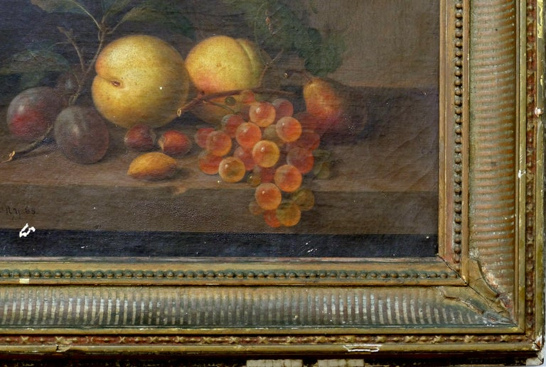 19th Century Paul LaCroix Fruit Still-Life Oil Painting on Canvas, 1865 in Original Frame For Sale