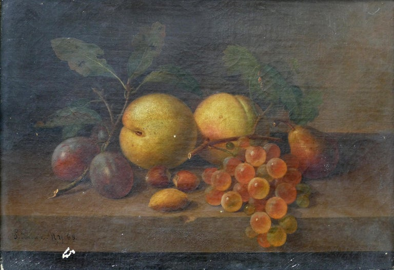 Paul LaCroix fruit still-life oil painting on canvas, 1865 in original frame  Offered for sale is an original fruit still-life oil painting on canvas by the American painter Paul LaCroix (born in France in 1827 - d. New York, 1869). The painting