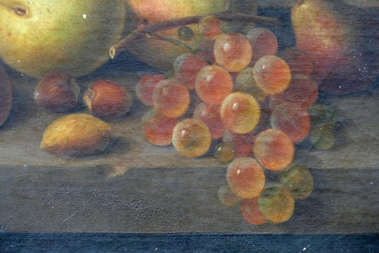 American Paul LaCroix Fruit Still-Life Oil Painting on Canvas, 1865 in Original Frame For Sale