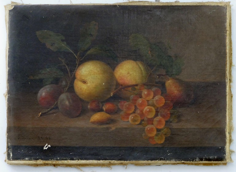 Hand-Painted Paul LaCroix Fruit Still-Life Oil Painting on Canvas, 1865 in Original Frame For Sale