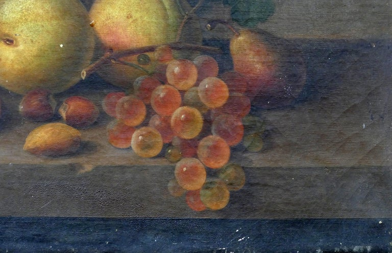 Paul LaCroix Fruit Still-Life Oil Painting on Canvas, 1865 in Original Frame For Sale 1