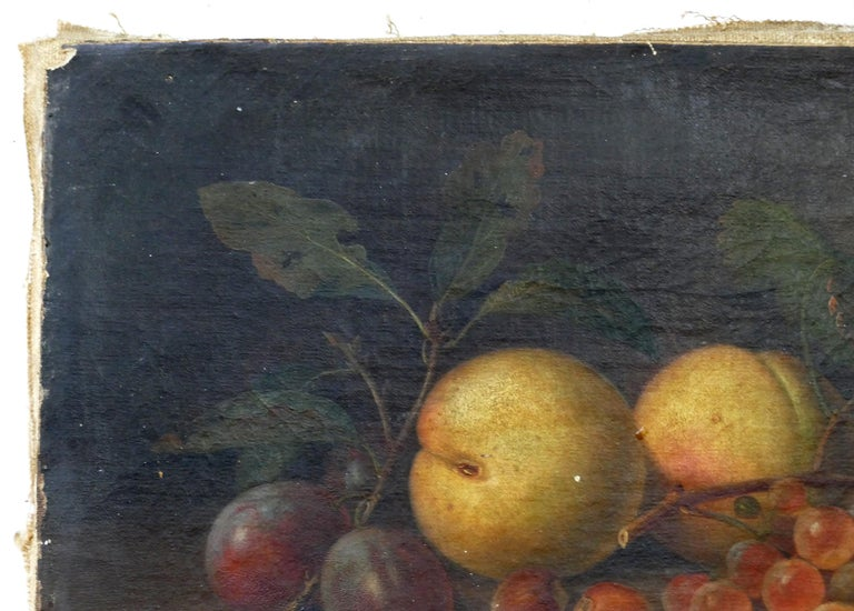 Paul LaCroix Fruit Still-Life Oil Painting on Canvas, 1865 in Original Frame For Sale 2