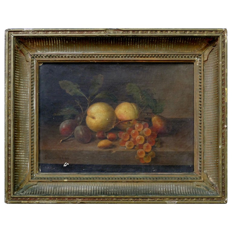 Paul LaCroix Fruit Still-Life Oil Painting on Canvas, 1865 in Original Frame For Sale