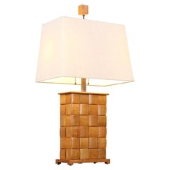 "Paul Laszlo ""Basket Weave"" Table Lamp for Brown Saltman"
