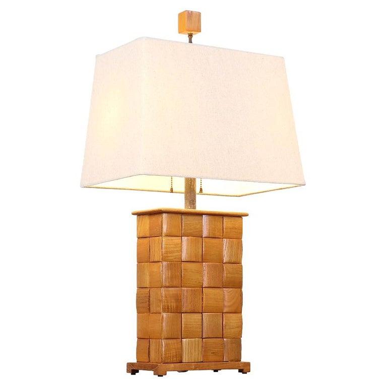 "Paul Laszlo ""Basket Weave"" Table Lamp for Brown Saltman For Sale"