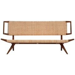 Paul Laszlo Bench in Mahogany and Cane