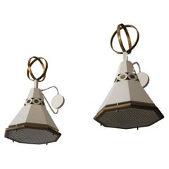 Paul László, Commission Wall Lights, Brass, White Metal, United States, 1950s