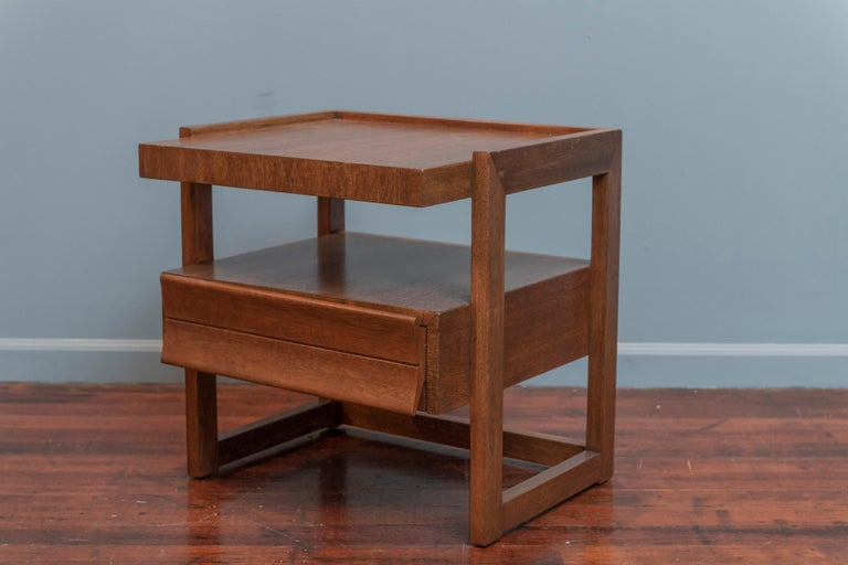 Paul Laszlo design end table for Brown Saltman, Los Angeles. Architectural design by one of America's best midcentury interior designer's, newly refinished and ready to install.