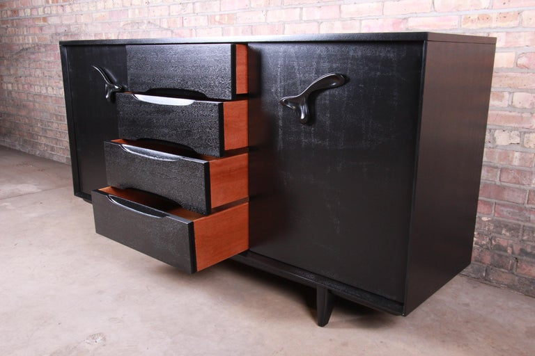 Paul Laszlo for Brown Saltman Ebonized Dresser or Credenza, Newly Refinished For Sale 3