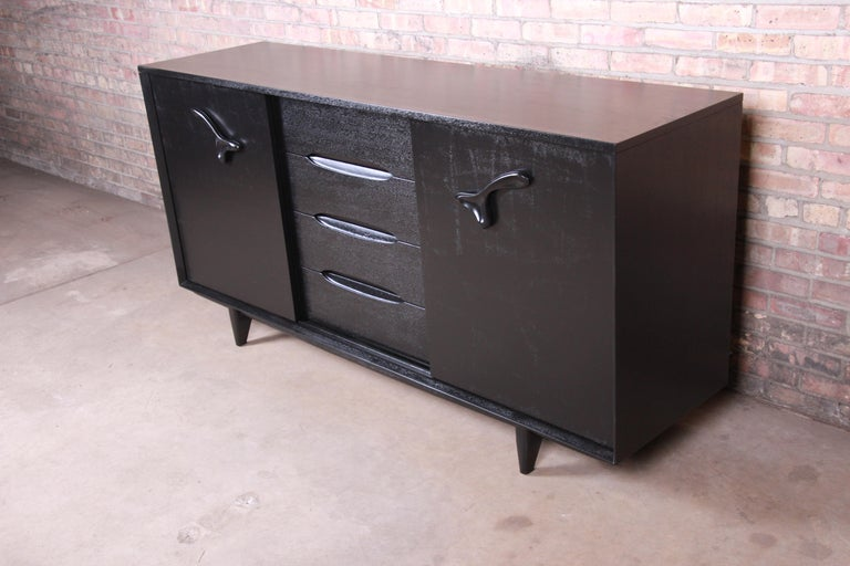 Mid-Century Modern Paul Laszlo for Brown Saltman Ebonized Dresser or Credenza, Newly Refinished For Sale