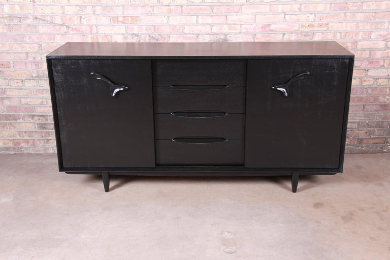 American Paul Laszlo for Brown Saltman Ebonized Dresser or Credenza, Newly Refinished For Sale