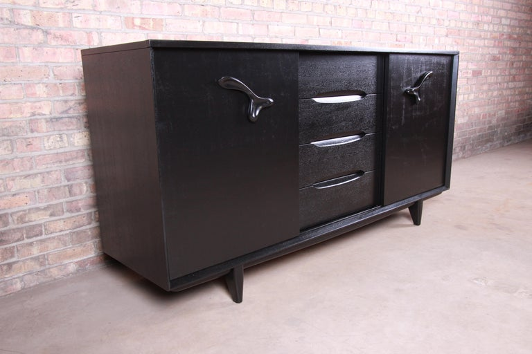 Paul Laszlo for Brown Saltman Ebonized Dresser or Credenza, Newly Refinished In Good Condition For Sale In South Bend, IN