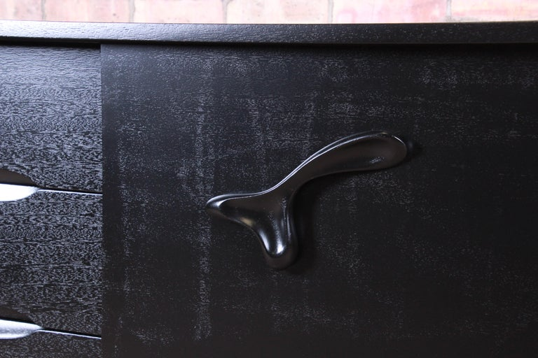 Mahogany Paul Laszlo for Brown Saltman Ebonized Dresser or Credenza, Newly Refinished For Sale