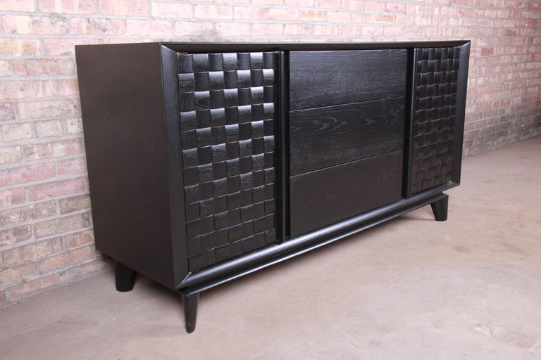 American Paul Laszlo for Brown Saltman Ebonized Sideboard Credenza, Newly Refinished For Sale