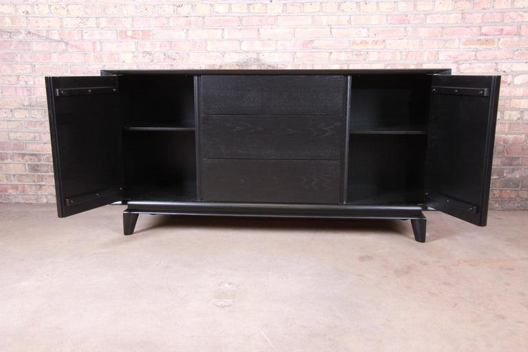 Mid-20th Century Paul Laszlo for Brown Saltman Ebonized Sideboard Credenza, Newly Refinished For Sale