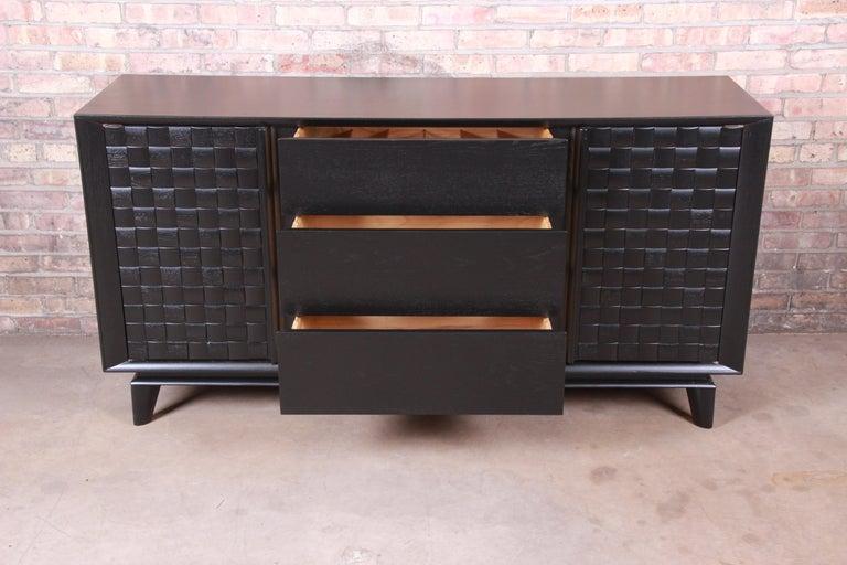 Oak Paul Laszlo for Brown Saltman Ebonized Sideboard Credenza, Newly Refinished For Sale