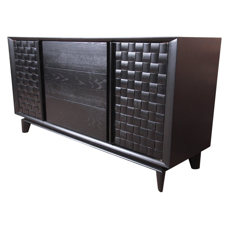 Paul Laszlo for Brown Saltman Ebonized Sideboard Credenza, Newly Refinished For Sale