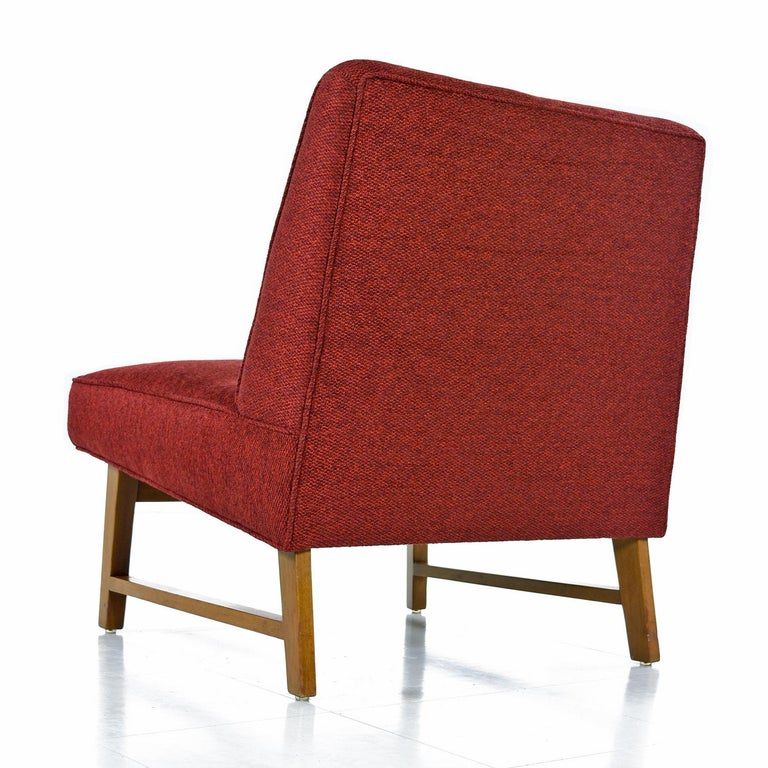 Mid-20th Century Edward Wormley for Dunbar Mahogany Slipper Chairs Lounge Chair Set, Restored For Sale