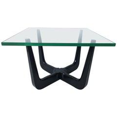 Paul Laszlo Interior Attributed Original Black Lacquer Coffee Lamp Table