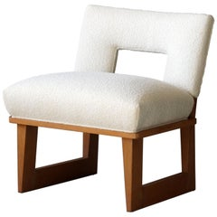 Paul László, Lounge Chair, Oak, White Bouclé, Brown Saltman United States, 1950s