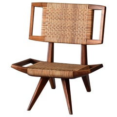 Paul László, Lounge / Slipper Chair, Woven Rattan, Mahogany, California, 1950s