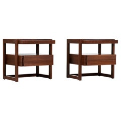 Paul Laszlo Two-Tier Mahogany Night Stands for Brown Saltman