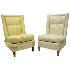 Paul Laszlo Upholstered Slipper Lounge Chair Barrel Back a Pair