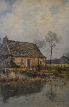 Paul Lecomte (1842-1920) A farm near a Pond, Oil on canvas, signed