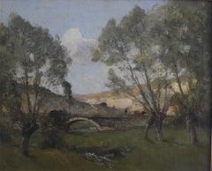 Paul Lecomte (1842-1920) A landscape with a bridge, Oil on canvas