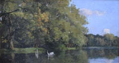 Paul Lecomte (1842-1920) A Lake with swans, oil on canvas
