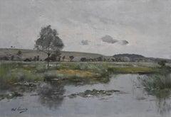 Paul Lecomte (1842-1920) A Landscape with a pond, Oil on canvas