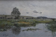 Paul Lecomte (1842-1920) A Landscape with a pond, Oil on canvas signed