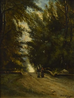 Paul Lecomte (1842-1920) A wooded landscape, Oil on panel