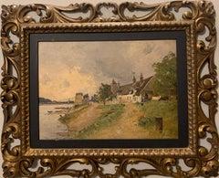 """""""Village au bord de riviere"""" Impressionism, France, Oil 36 x 26 cm 1880"""