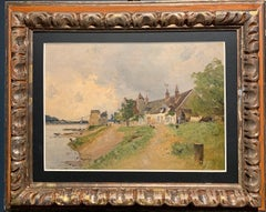 """Village au bord de riviere"" Impressionism, France, Oil 36 x 26 cm circa 1880"