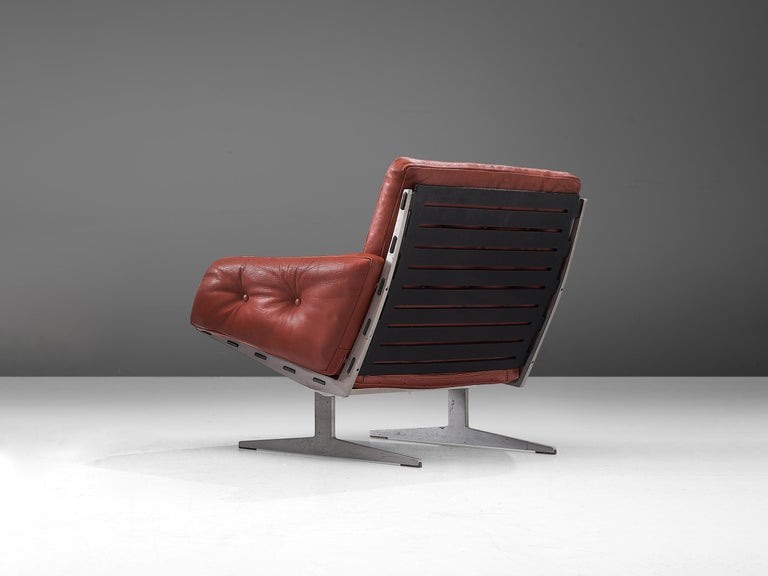 Scandinavian Modern Paul Leidersdorff for Cardo 'Caravelle' Lounge Chair in Red Leather For Sale