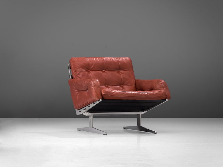 Danish Paul Leidersdorff for Cardo 'Caravelle' Lounge Chair in Red Leather For Sale