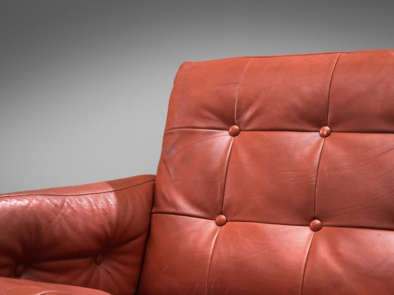 Paul Leidersdorff for Cardo 'Caravelle' Lounge Chair in Red Leather In Good Condition For Sale In Waalwijk, NL