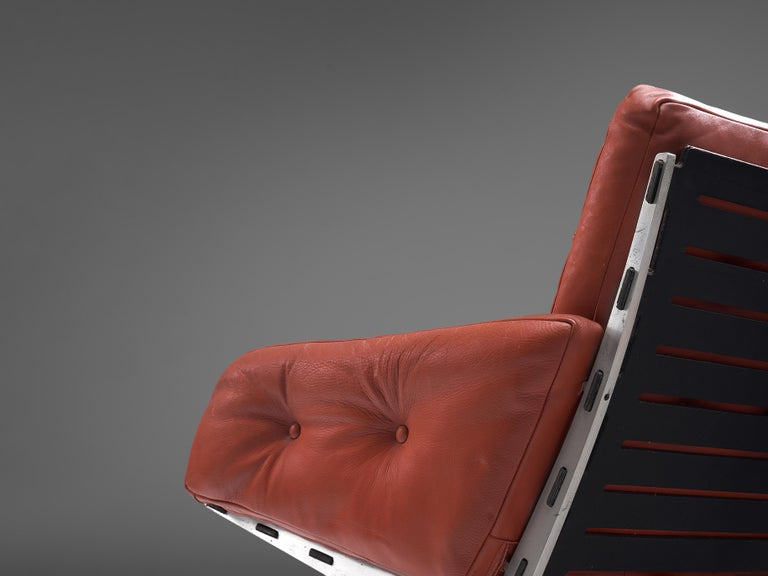 Aluminum Paul Leidersdorff for Cardo 'Caravelle' Lounge Chair in Red Leather For Sale