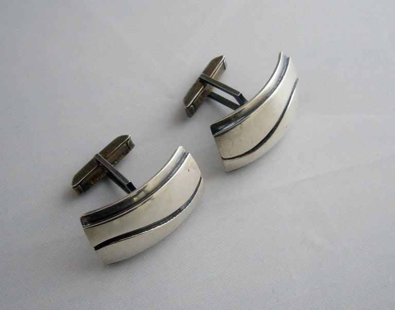 Modernist Paul Lobel American Modern Studio Sterling Silver Cufflinks For Sale
