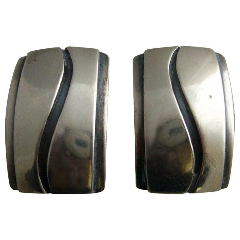 Paul Lobel American Modern Studio Sterling Silver Cufflinks For Sale
