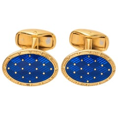 Paul Longmire Vintage Cufflinks 18 Karat Gold and Blue Enamel, London circa 1990