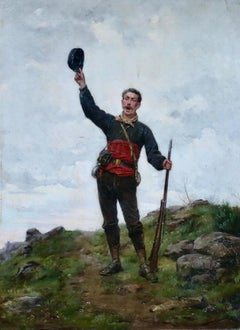 Triumphant - 19th Century Oil, Figure of Soldier in Landscape by Paul Grolleron