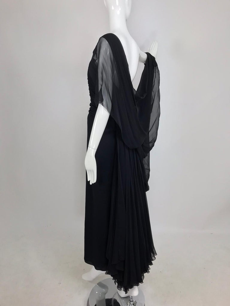 Paul-Louis Orrier Black Silk Chiffon One Sleeve Demi Couture Gown 1980s For Sale 6