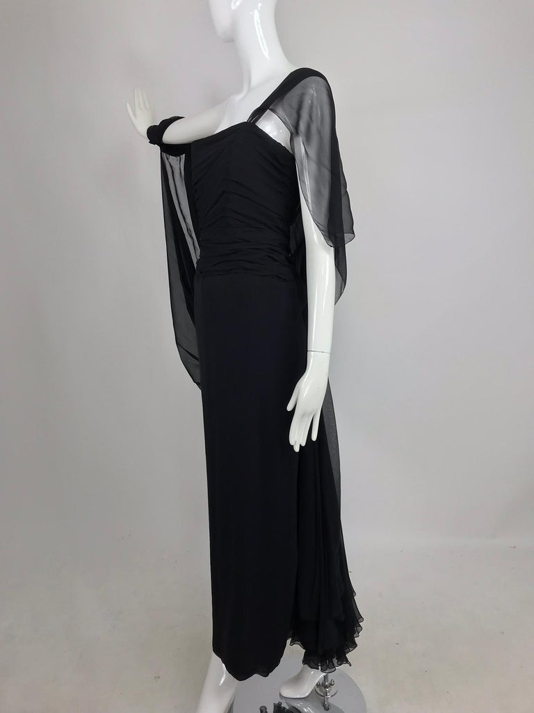 Paul-Louis Orrier Black Silk Chiffon One Sleeve Demi Couture Gown 1980s For Sale 7