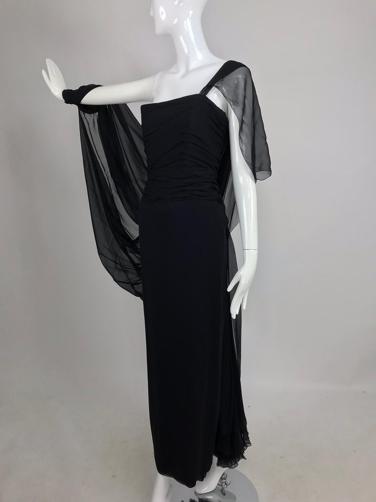 Paul-Louis Orrier Black Silk Chiffon One Sleeve Demi Couture Gown 1980s For Sale 8